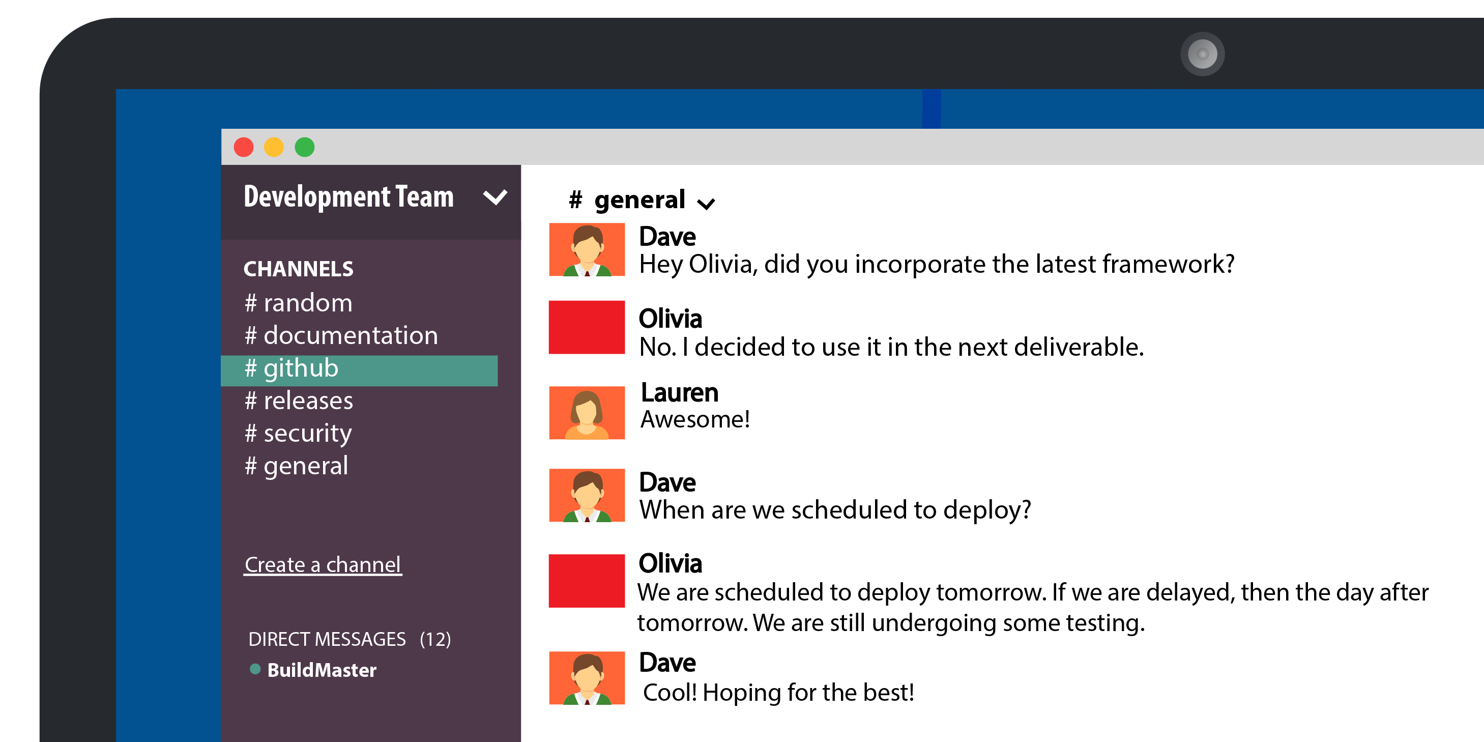 slack channel depicting conversation between teams about a deployment schedule