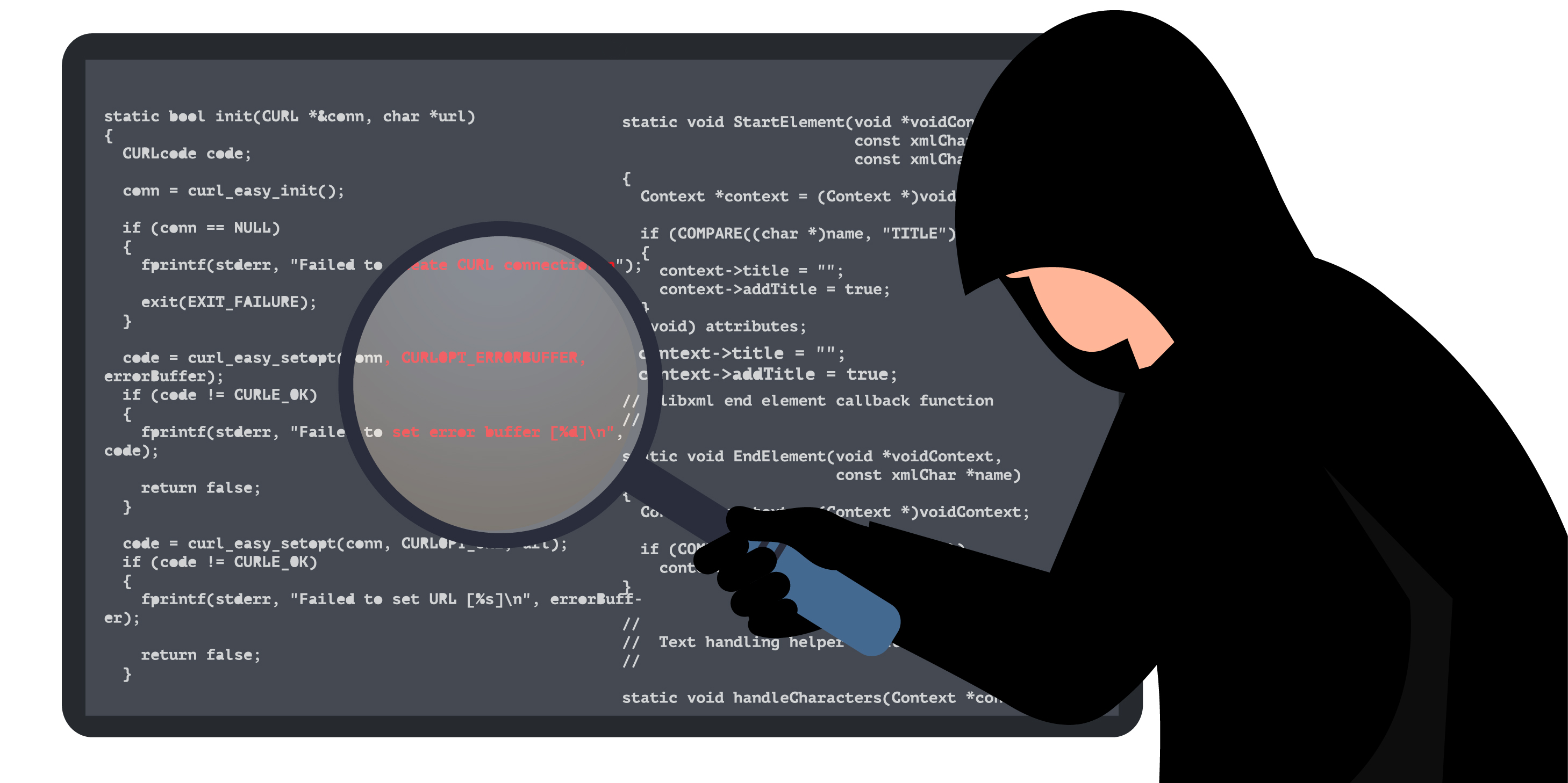 hacker finding and identifying vulnerabilities in code