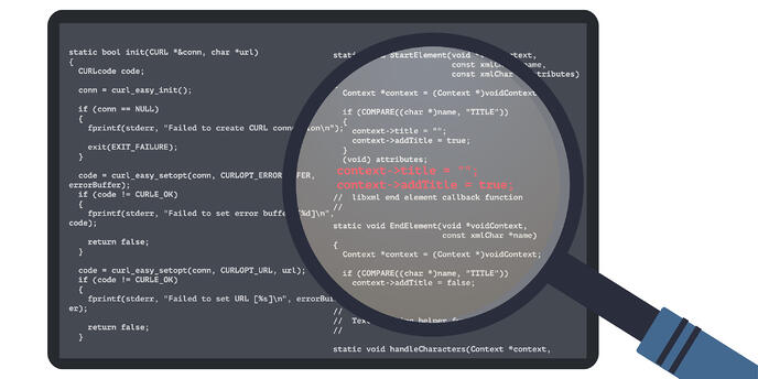magnifying glass detecting errors in written code