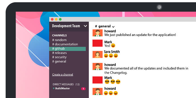 computer screen depicting how Slack can be used for updates on applications