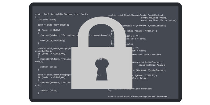 security code lock depicted as a lock and key protecting sensitive code on applications