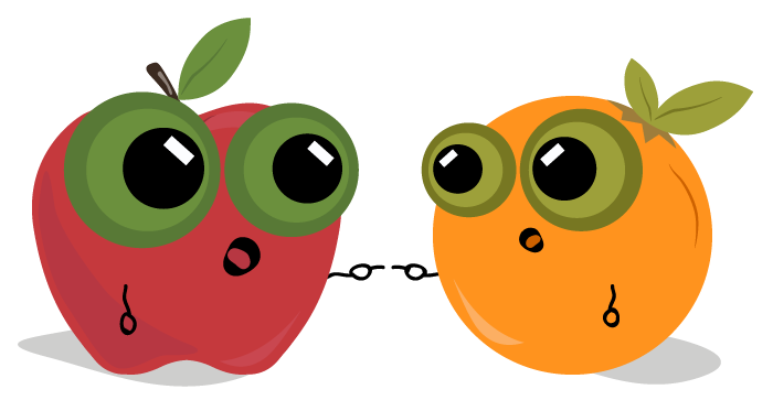 Cartoon red apple and orange point at one another