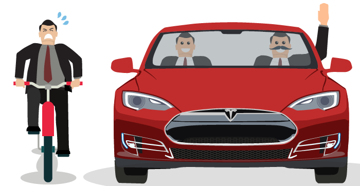 An man dressed in a business suit riding a bike exerts himself to keep up with two men in business suits driving a Tesla car
