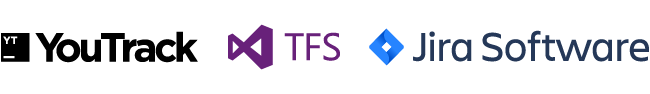 Images of YouTrack, TFS, and Jira Software Company Logos